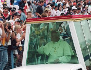 Pope St. John Paul II in Denver for World Youth Day 1993.