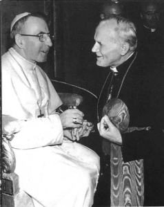 Cardinal Wojtyla with his predecessor, Pope John Paul I.