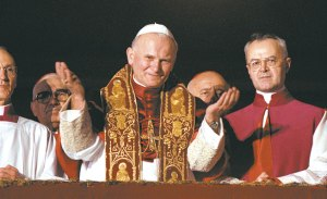 Pope St. John Paul II on the day of his election to the Papacy.