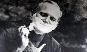Fr. Karol Wojtyla shaving on a camping trip.
