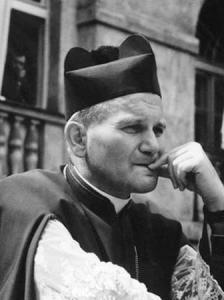 Bishop Wojtyla wearing the black beretta.