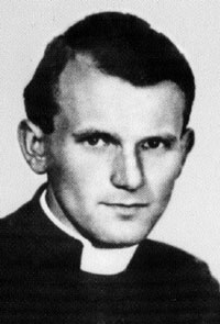 Pope St. John Paul II as a young priest.