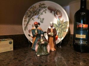 The Magi in my kitchen. A little sip of the vino might help them sleep better that week.
